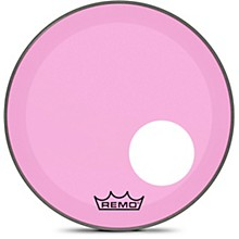 "Remo Powerstroke P3 Colortone Pink Resonant Bass Drum Head with 5"" Offset Hole"