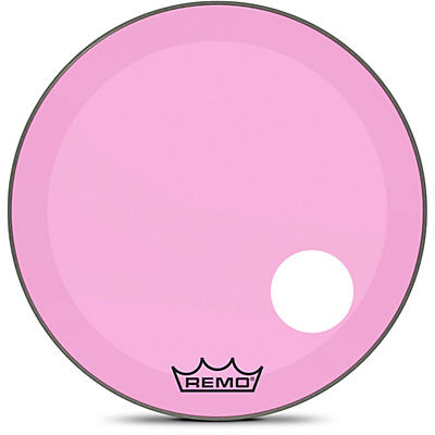"""Remo Powerstroke P3 Colortone Pink Resonant Bass Drum Head with 5"""" Offset Hole"""