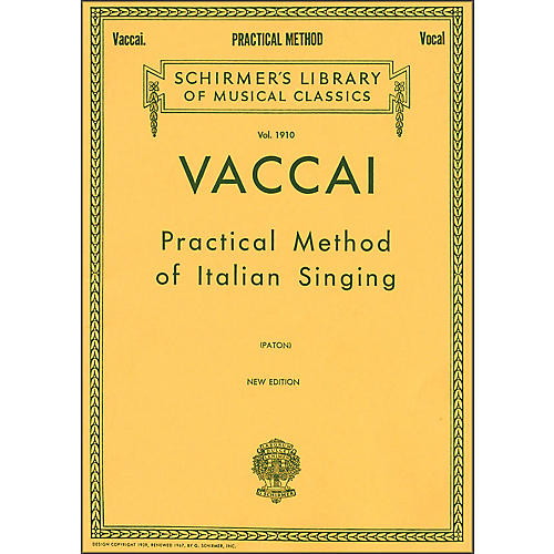 G. Schirmer Practical Method Of Italian Singing for Alto Or Barintone Voice By Vaccai