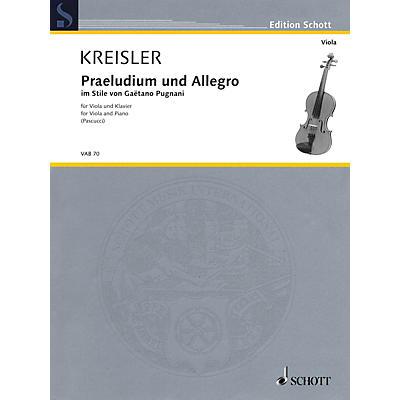 Schott Praeludium und Allegro (in the Style of Gaetano Pugnani Viola and Piano) String Series Softcover