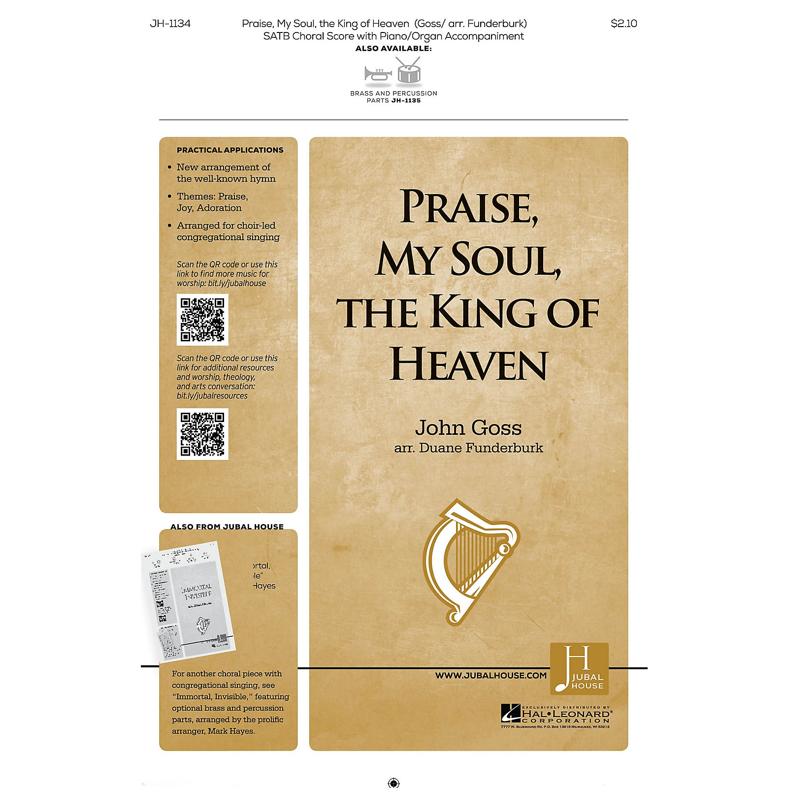 Jubal House Publications Praise, My Soul, the King of Heaven BRASS/PERCUSSION PARTS Arranged by John Goss