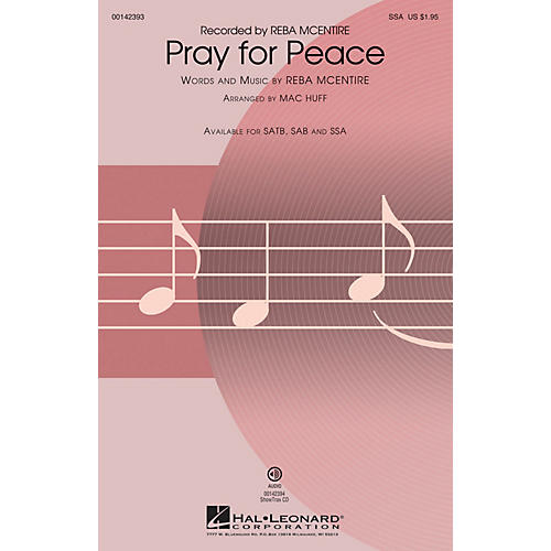 Hal Leonard Pray for Peace SSA by Reba McEntire arranged by Mac Huff