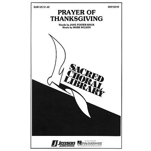 Hal Leonard Prayer of Thanksgiving SAB composed by Mark Wilson