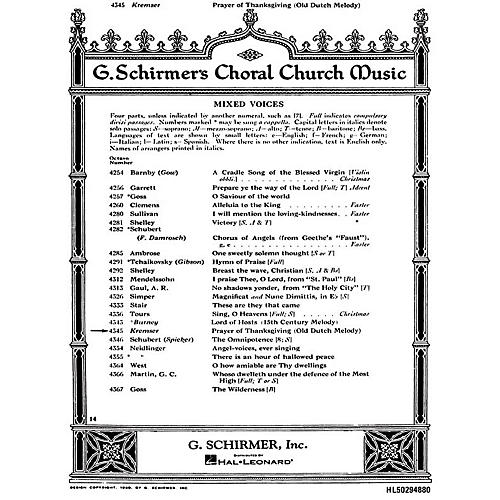 G. Schirmer Prayer of Thanksgiving SATB composed by Anonymous