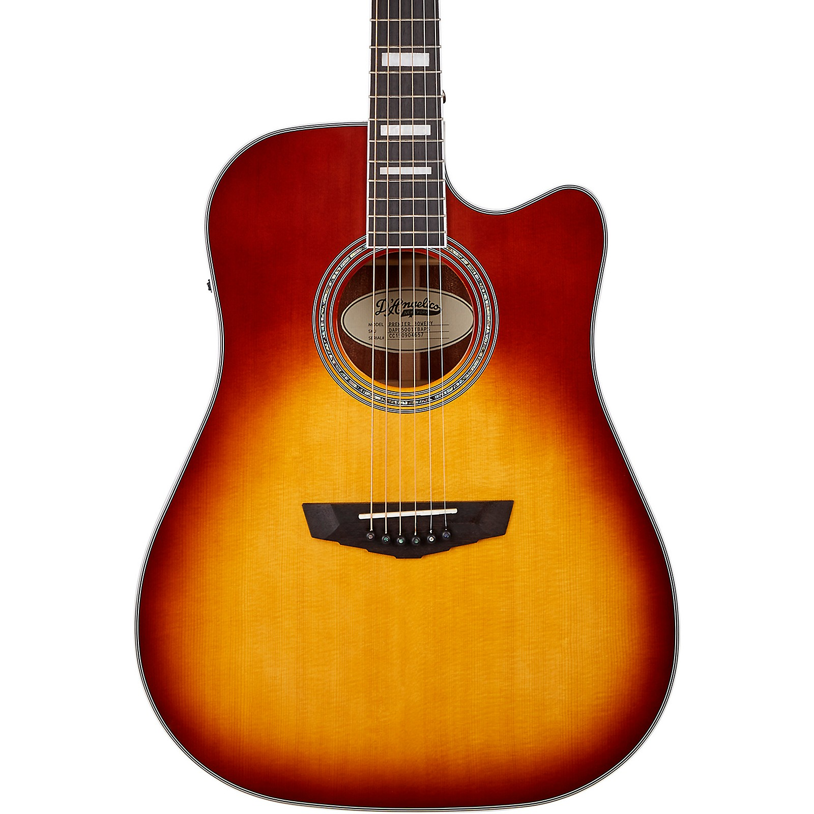 D'Angelico Premier Series Bowery Cutaway Dreadnought Acoustic-Electric Guitar