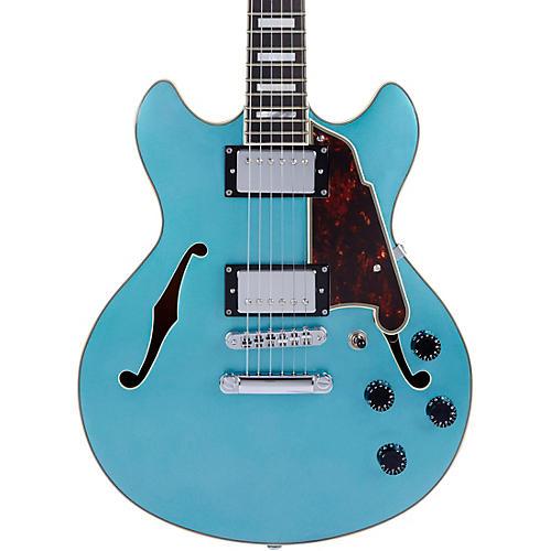 D'Angelico Premier Series Mini DC Semi-Hollow Electric Guitar Stop-bar Tailpiece Ocean Turquoise