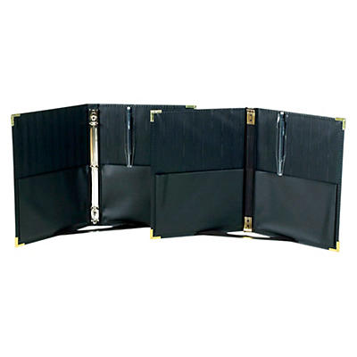 "Marlo Plastics Premium Concert Choral Folder 9-1/4 x 12"" with Elastic Stays, Pockets, Brass Corners, Pencil - Black"