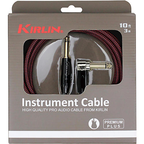KIRLIN Premium Plus Straight to Right Angle Instrument Cable, Black/Red Woven Jacket