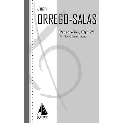 Lauren Keiser Music Publishing Presencias, Op. 72 (for Chamber Ensemble) LKM Music Series Composed by Juan Orrego-Salas
