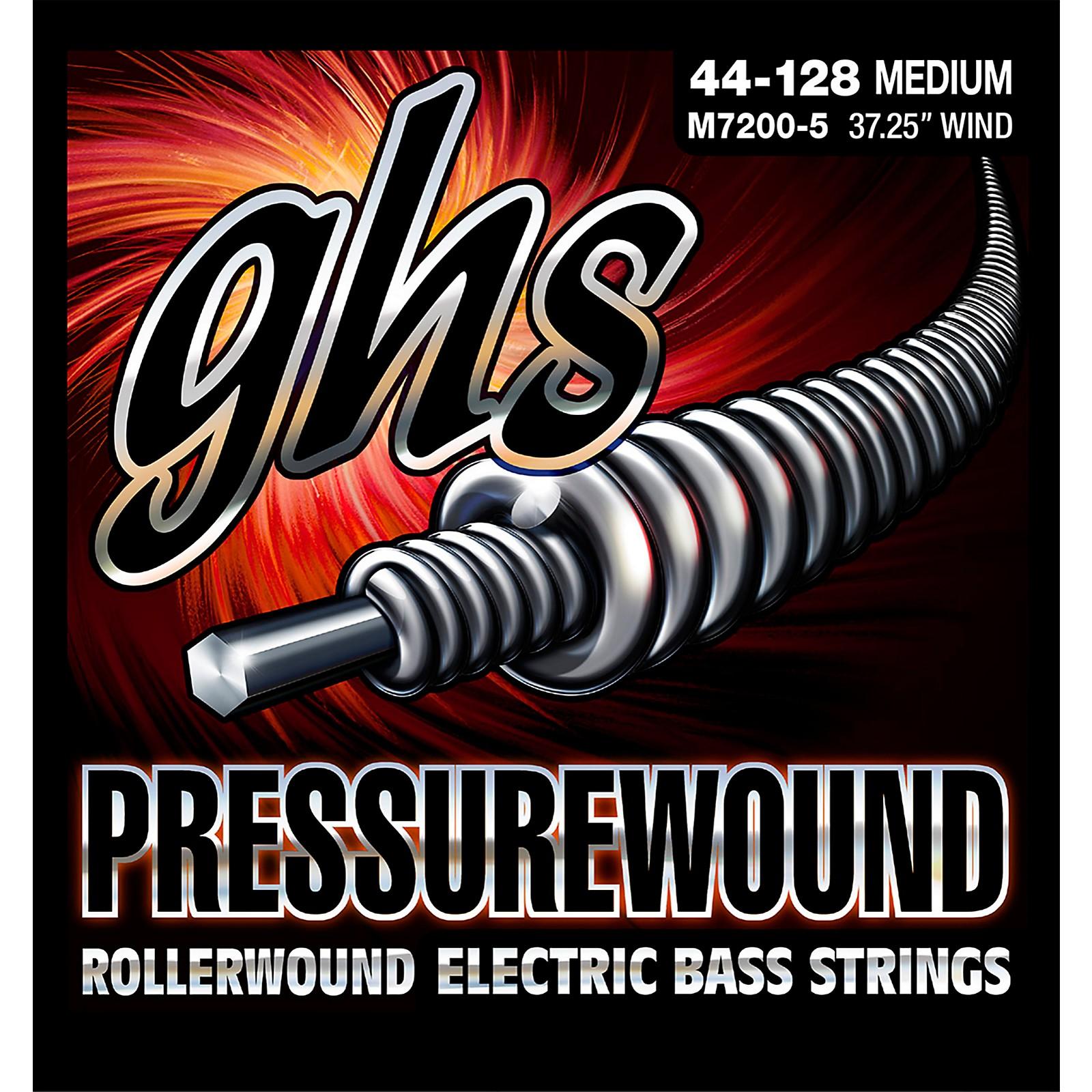 GHS Pressurewound Rollerwound Electric Bass Strings Med 44-128