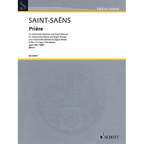Schott Prière, Op 158 (Cello (or Violin) and Organ (or Piano)) String Series Softcover