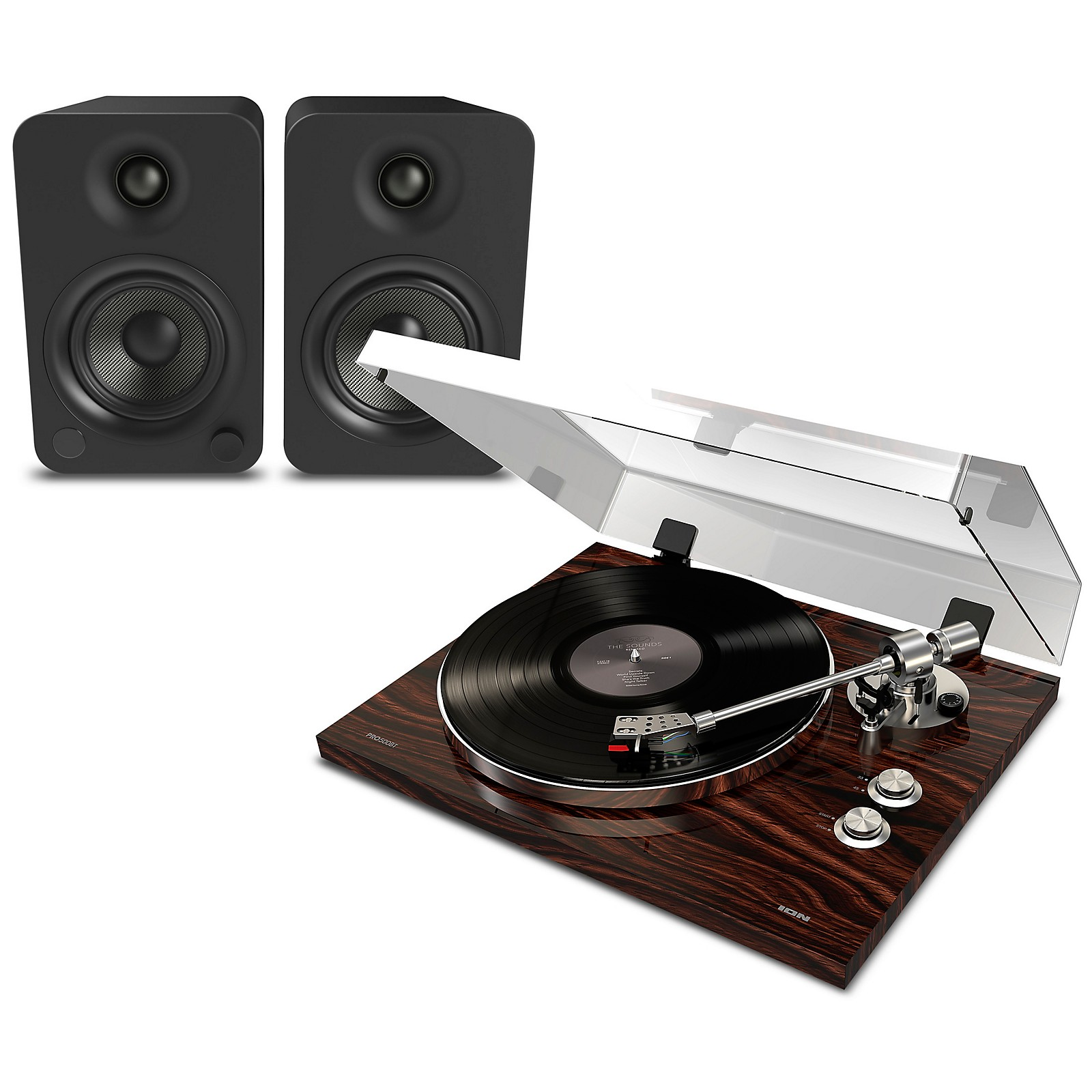 ION Pro BT500 Record Player Package with Kanto YU4 Powered Speakers