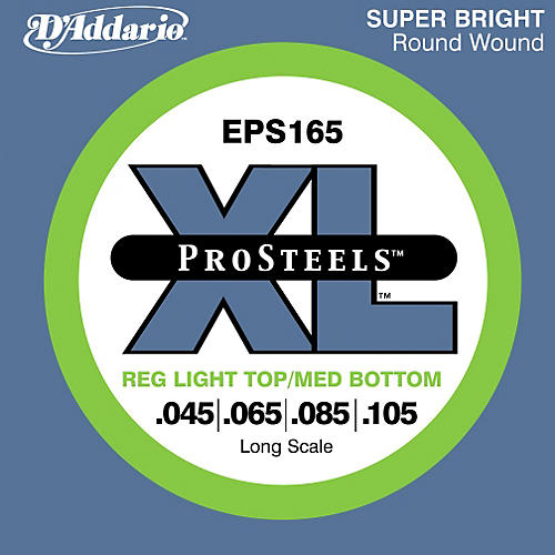 D'Addario ProSteels EPS165 Light Top/Medium Bottom Long Scale Bass Strings