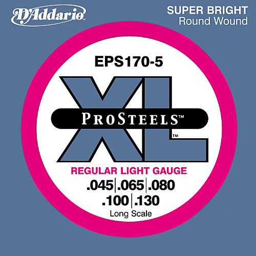 D'Addario ProSteels EPS170-5 Regular Light 5-String Bass Strings