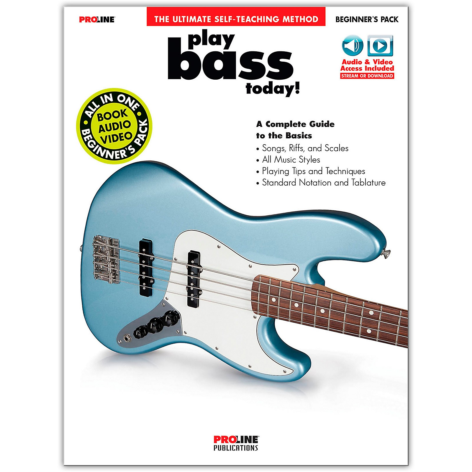 Proline Proline Play Bass Today Beginner's Pack Book/Audio & Video Online