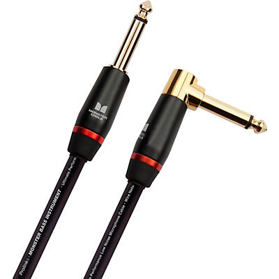 Monster Cable Prolink Monster Bass Pro Audio Instrument Cable, Right Angle to Straight