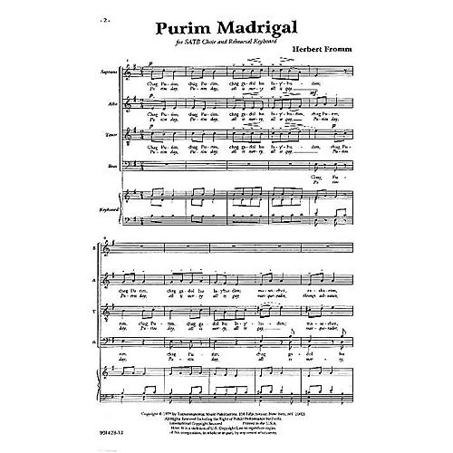Transcontinental Music Purim Madrigal SATB composed by Herbert Fromm