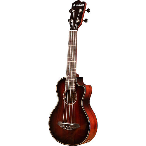 Breedlove Pursuit Exotic Concert Myrtlewood - Myrtlewood Acoustic-Electric Ukulele Black Cherry Burst