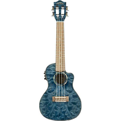 Lanikai QM-CEC Quitled Maple Concert Acoustic-Electric Ukulele Transparent Blue