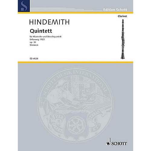 Schott Quintet No. 1 Fassung, Op. 30 (Set of Parts) Schott Series Composed by Paul Hindemith