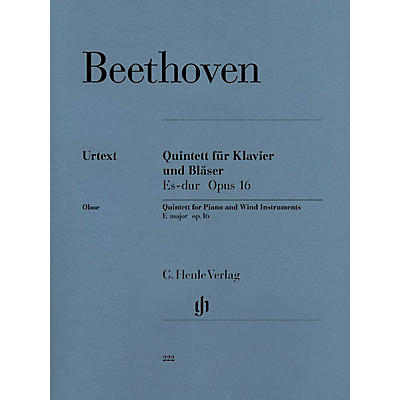 G. Henle Verlag Quintet for Piano and Wind Instruments in E-flat Maj, Op 16 Henle Music Folios Book by Beethoven