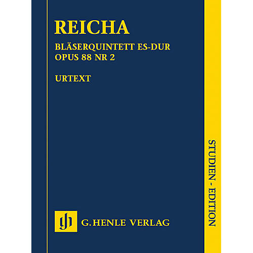 G. Henle Verlag Quintet for Wind Instruments in E-flat Major, Op. 88 No. 2 Henle Study Scores by Reicha Edited by Wiese