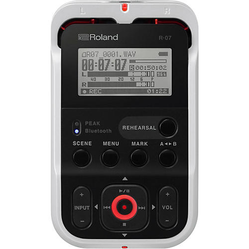 Roland R-07 High-Resolution Audio Recorder with Bluetooth in White