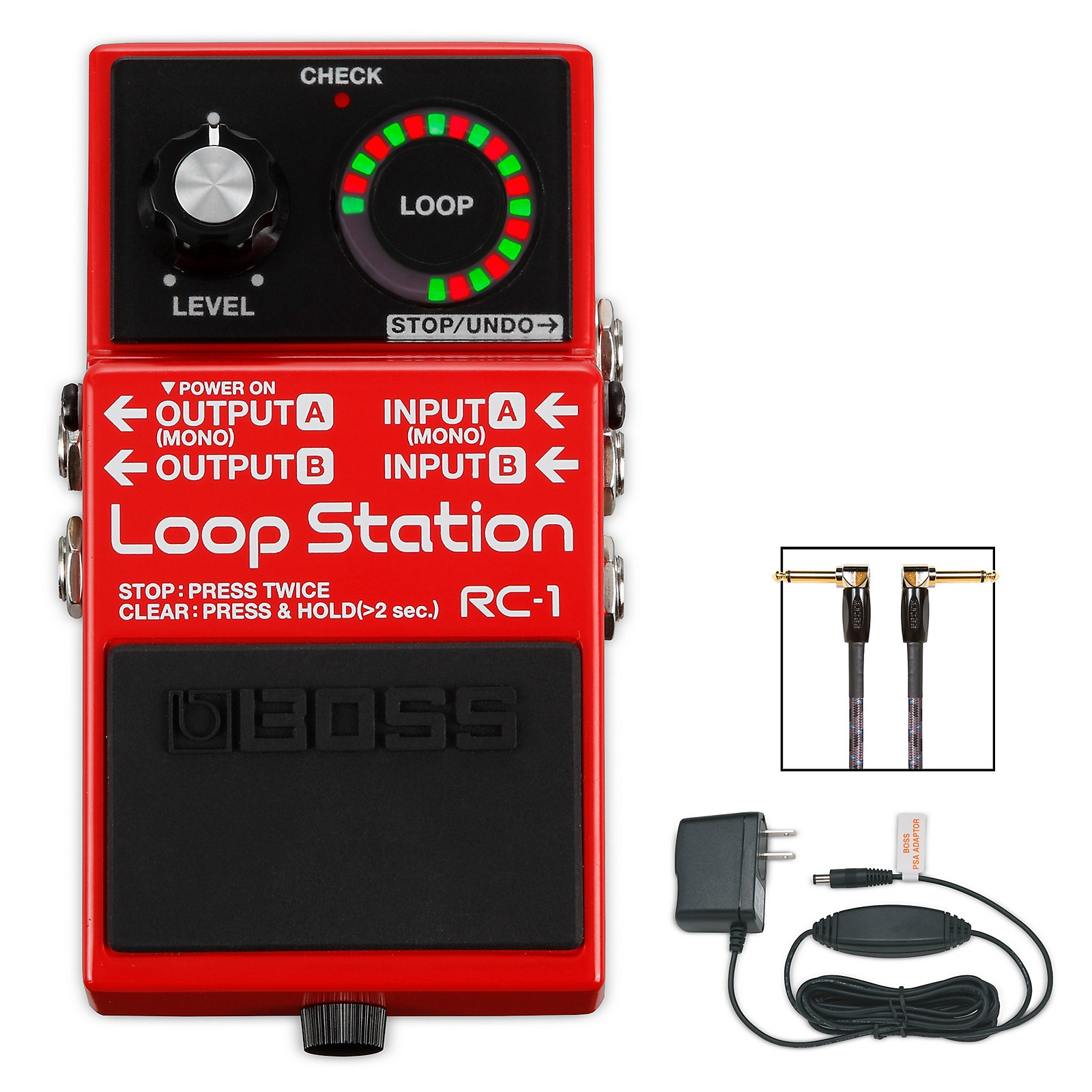 Boss RC-1 Loop Station, PSA-120S2 AC Power Adapter and 3' Instrument Cable Bundle