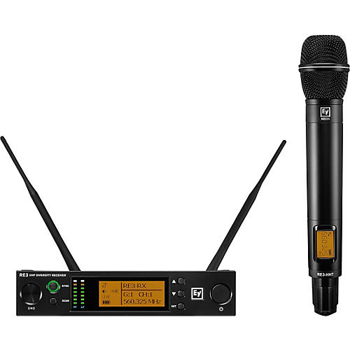 Electro-Voice RE3 Wireless Handheld Set with ND86 Dynamic Supercardioid Vocal Microphone Head 488-524MHz 653-663 MHz