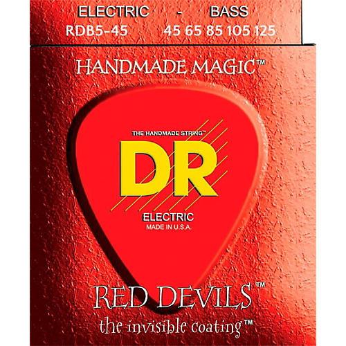 DR Strings RED DEVILS Red Coated Medium 5-String Bass Strings (45-125)
