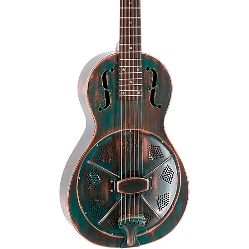 Recording King RM-993 Metal Body Parlor Resonator Guitar Distressed Vintage Green