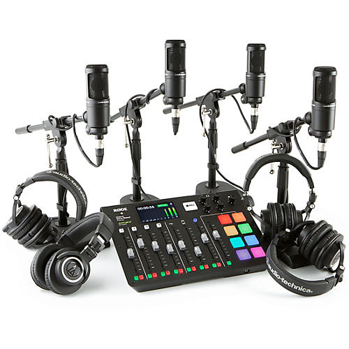 RODEcaster Pro 4-Person Podcasting Bundle With AT2020 & ATHM50X
