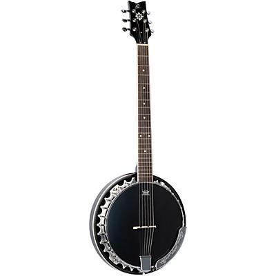 Ortega Raven Series OBJE356-SBK-L Left-Handed 6-String Banjo
