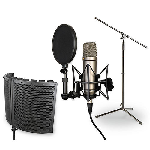Rode Recording Microphone Package With NT1-A Condenser Microphone, SM6 Shockmount, Pop Filter, CAD VS1 Vocalshield, Boom Stand and 20' XLR Cable