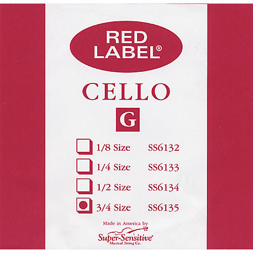 Super Sensitive Red Label Cello G String 3/4