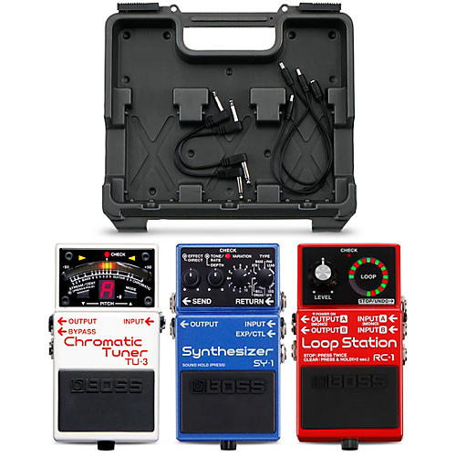 BOSS Red, White and Blue Pedal Pack (RC-1, TU-3, SY-1) with Free BCB-30 Pedalboard