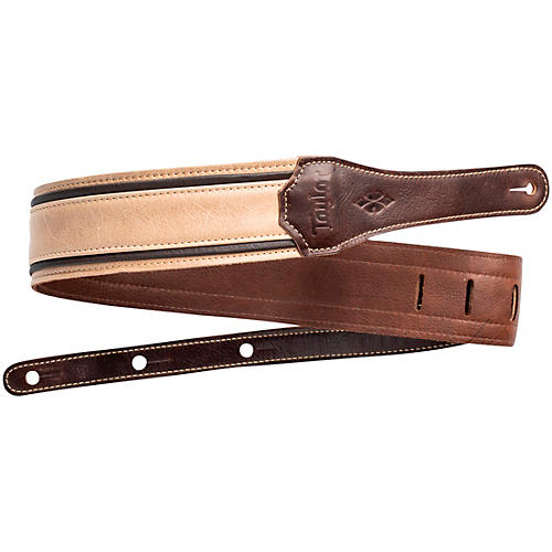 Taylor Reflections Leather Guitar Strap - Spruce Brown and Tan 2.5 in.