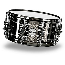 Open Box Ddrum Reflex Tattooed Lady Engraved Black Steel Snare Drum