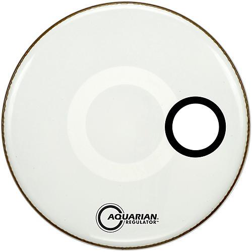Aquarian Regulator Off-Set Hole Gloss White Bass Drum Head 28 in.