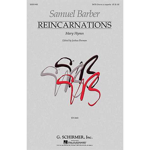 G. Schirmer Reincarnations - No. 1: Mary Hynes (SATB a cappella) SATB composed by Samuel Barber