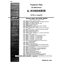 Associated Remember 6 About Love SATB composed by F Picket