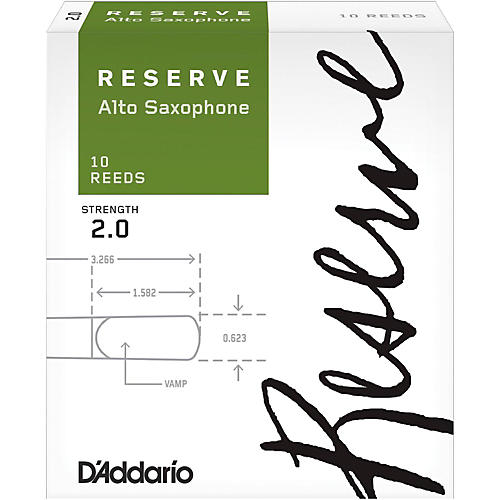 D'Addario Woodwinds Reserve Alto Saxophone Reeds 10 Pack Strength 2
