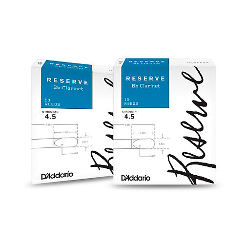 D'Addario Woodwinds Reserve Bb Clarinet Reeds 10-Pack, 2 Box Special 4.5