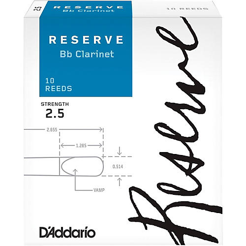D'Addario Woodwinds Reserve Bb Clarinet Reeds 10-Pack Strength 2.5