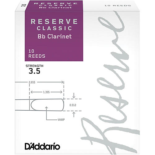 D'Addario Woodwinds Reserve Classic Bb Clarinet Reeds 10-Pack Strength 3.5