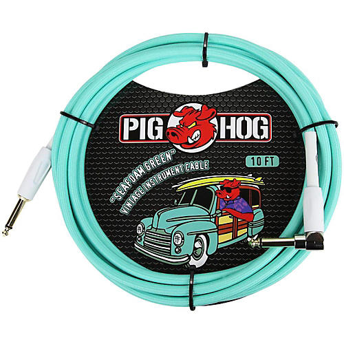 Pig Hog Right Angle Instrument Cable 10 ft. Seafoam Green
