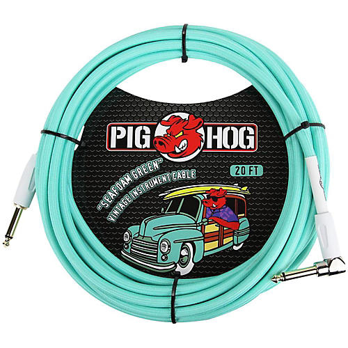 Pig Hog Right Angle Instrument Cable 20 ft. Seafoam Green