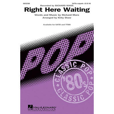 Hal Leonard Right Here Waiting TTBB A Cappella by Richard Marx Arranged by Kirby Shaw