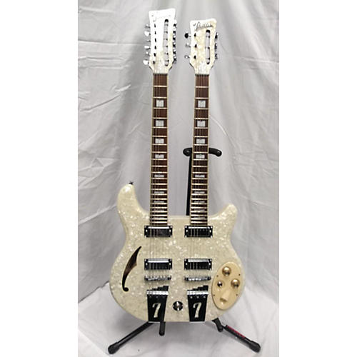 Italia Rimini Double Neck 6/12 String Hollow Body Electric Guitar Pearloid