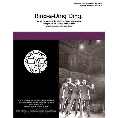 Barbershop Harmony Society Ring-a-Ding Ding TTBB A Cappella arranged by Anthony Bartholomew